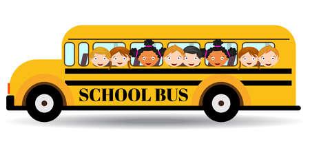 Autobus szkolny. Dzieci jazdy na autobus szkolny. Ilustracje wektorowe