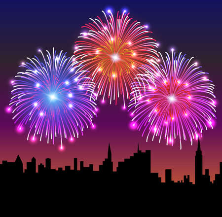 Fireworks on the Night City. vector illustration,