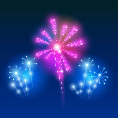 Beautiful Vector Fireworks, on a blue background.