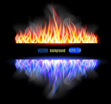 elements of nature: Burn flame fire vector background. Vector illustration Illustration