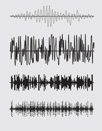 waves: Vector sound waves set. Audio equalizer technology. Vector illustration