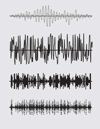 radio waves: Vector sound waves set. Audio equalizer technology. Vector illustration