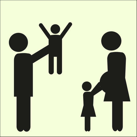 family isolated: Family vector silhouette  with daughter and son.  Isolated vector illustration.