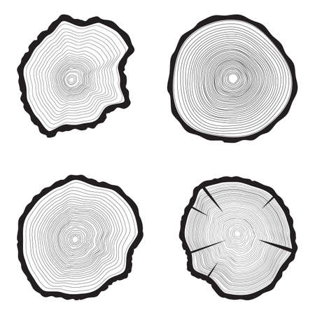Set Tree rings background. Annual tree. vector illustration,