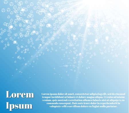 seabed: Oceano blu da sott'acqua con le bollicine con i raggi luminosi Vettoriali