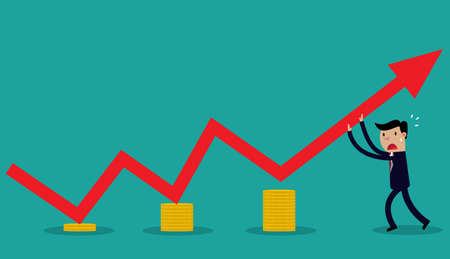 supporting: cartoon Vector Image of  businessman supporting graph