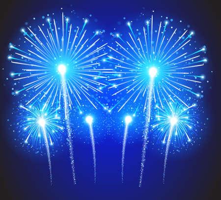 fuegos artificiales: Bellos fuegos artificiales del vector, sobre un fondo azul. Vectores