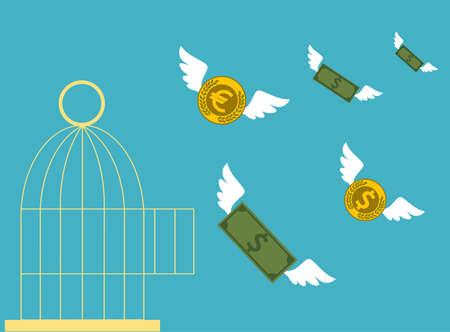 dinero: Dinero gratis. Jaula abierta con el dinero del vuelo. Concepto de negocio.
