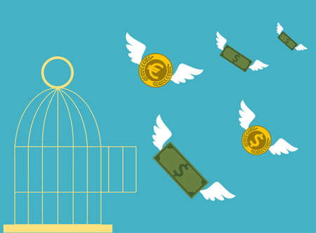 cartoon money: Free money. Open cage with flying money. Business concept.