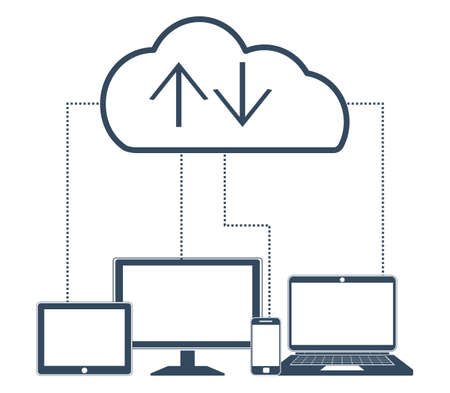 synchronizing: Cloud computing Network Connected all Devices. Flat design.