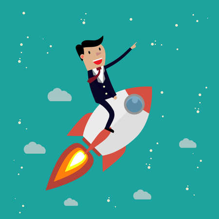 idea cartoon: Startup Business. Businessman on a rocket. Flat design business concept illustration.