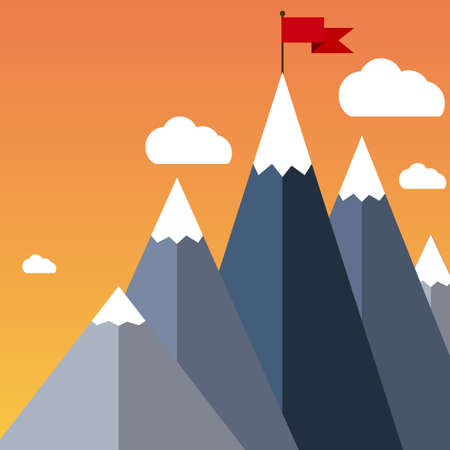 Vector flat flag on mountain. Success illustration. Goal achievement. Business concept. Winning of competition or triumph design.