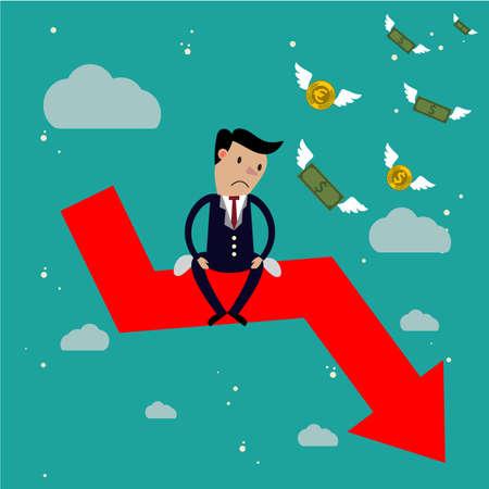 사업가 화살표 주식 시장 충돌에 앉아, 주식 시장 하락 개념 일러스트