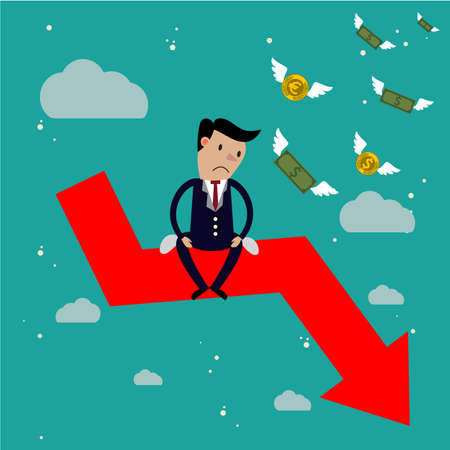failure: Businessman sit on arrow stock market crash, Stock market falling concept Illustration