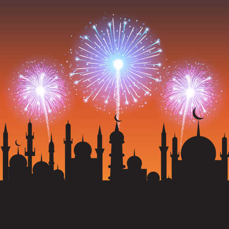 beautiful allah: Muslim community festival, Eid Mubarak celebration with mosque silhouette on fireworks decorated night background.