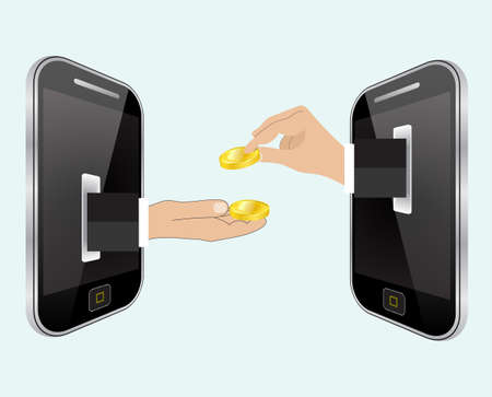 giving money: Hand giving money to other hand. Internet banking and mobile payments using smartphone, cash and near field communication technology, online banking. Payments methods. vector illustration Illustration