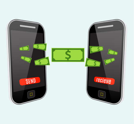 pay money: People sending and receiving money wireless with mobile phones. Flat style vector icons. Illustration