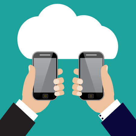 transferring: Two businessmen exchange information. Mobile phone transferring data from cloud.
