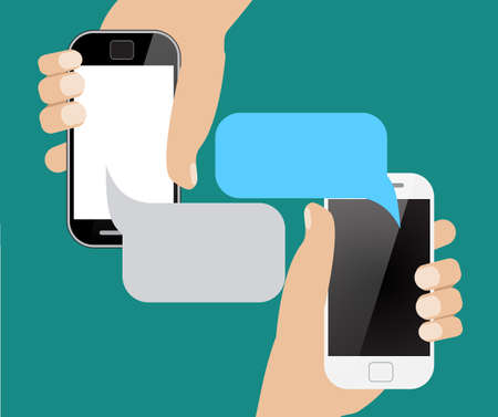 messaging: Hands holing smartphone with blank speech bubble for text. Using smart phone similar to iphon for text messaging. Eps 10 flat design concept.