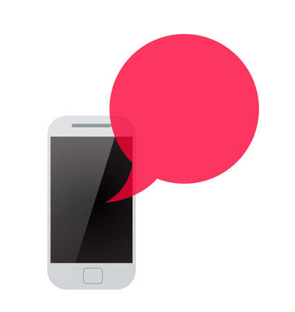 voicemail: smartphone with red transparent speech bubble. concept of online communion, voicemail and chat application. isolated on white background. flat style trendy modern logo design eps10 vector illustration