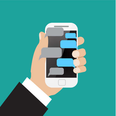 holing: Hand holing white smartphone  with blank speech bubbles for text. Text messaging flat design concept.  vector illustration