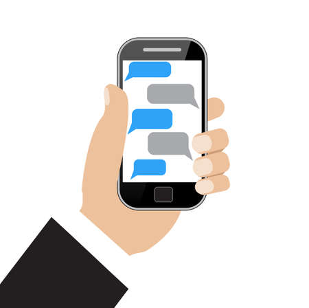 holing: Hand holing black smartphone  with blank speech bubbles for text. Text messaging flat design concept.  vector illustration