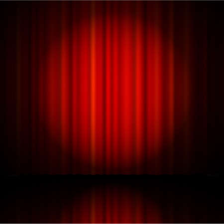 sipario chiuso: Red curtain from the theatre with a spotlight
