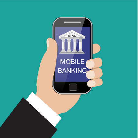 banking concept: Vector flat illustration for your design. Online banking concept. Illustration of modern smartphone with banking house on the screen. Illustration
