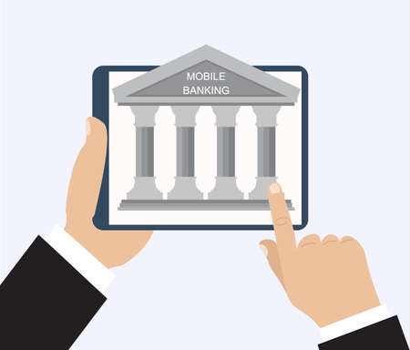 banking concept: Vector flat illustration for your design. Online banking concept. Illustration of modern tablet PC with banking house on the screen.