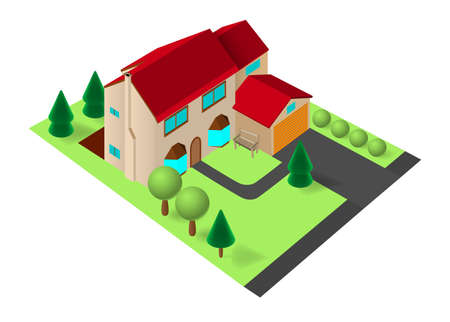 garage on house: Isometric family house with garage on green lawn with trees Illustration