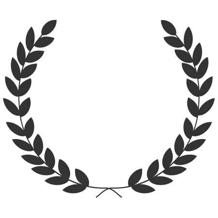 bata blanca: Una corona de laurel - símbolo de la victoria y el logro. Elemento de diseño para la construcción de medallas, premios, escudo o logotipo del aniversario. silueta gris sobre fondo blanco. icono de la corona de laurel
