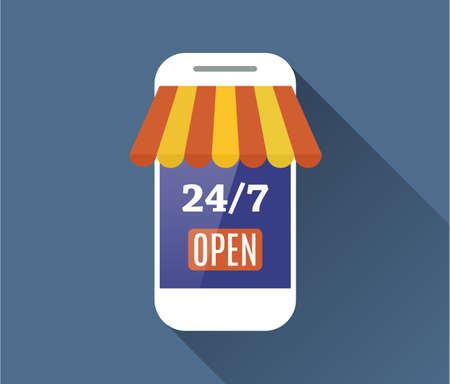online payment: Concept of day and night online shop on modern smart phone