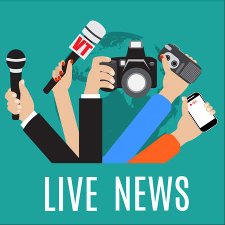 news media: vector live report concept, live news, hands of journalists with microphones and tape recorders