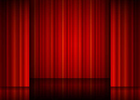 curtain design: Close view of a red curtain.
