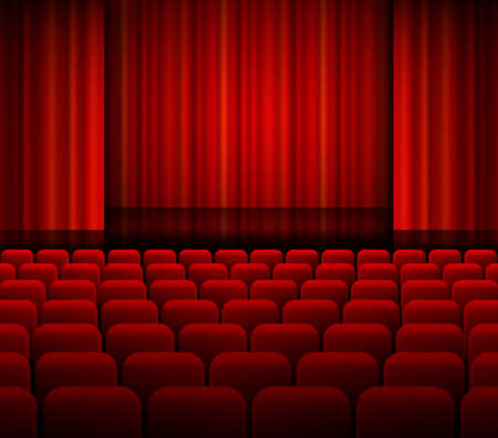concert audience: Open theater red curtains with light and seats.