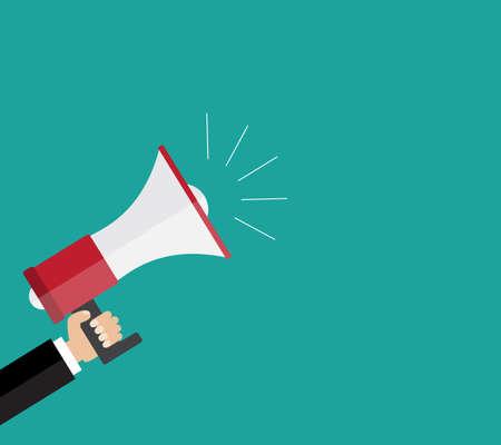 Flat design  business illustration concept Digital marketing business man holding megaphone for website and promotion