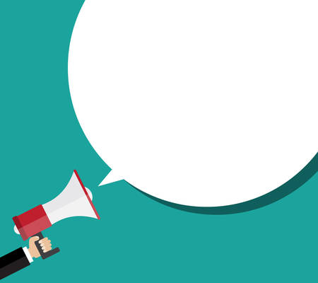 Hand holding megaphone with bubble speech. Flat design  business illustration concept Vettoriali