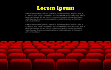 cinema screen: Rows of red cinema or theater seats in front of black screen with sample text space.