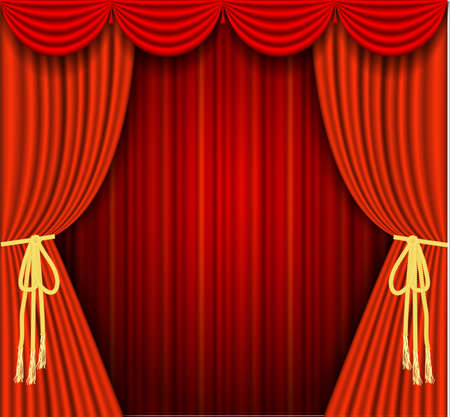 performing: illustrations of a Theater stage with red Full Stage Curtains