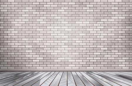 Grey: phòng gạch trắng. Bức tường đá