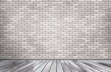cracked wall: White brick room.  Stone wall Illustration