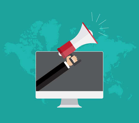 person computer: digital marketing concept, Businessman hand holding a megaphone