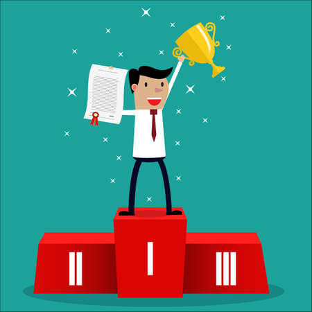 first prize: Businessman winner standing in first place on a podium holding up an award certificate and trophy as he celebrates his victory vector illustration Illustration