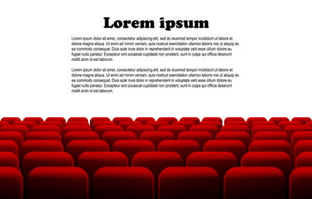 stage performance: Rows of red cinema or theater seats in front of white blank screen with sample text space. Vector.