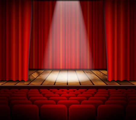 red theater curtain: A theater stage with a red curtain, seats and a spotlight. Vector.