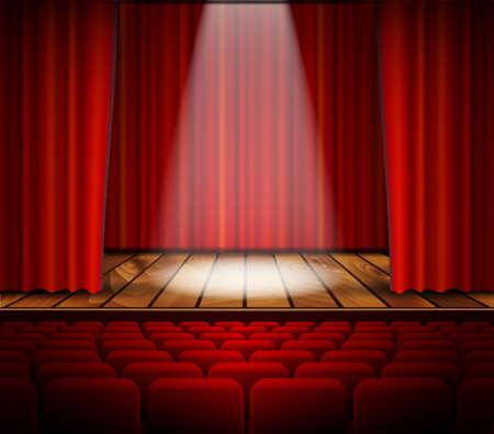 Eine Theaterbühne mit einem roten Vorhang, Sitze und ein Scheinwerfer. Vektor.