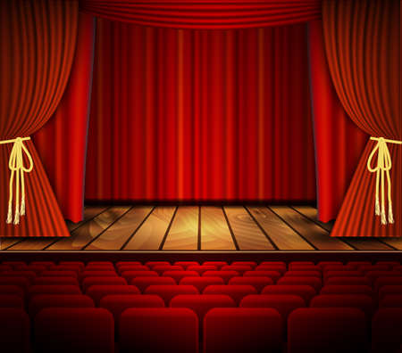 red theater curtain: Cinema or theater scene with a curtain. Vector.