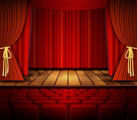 teatro: El cine o la escena teatral con una cortina. Vector.