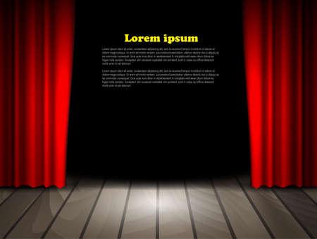 Theater podium met houten vloer en rode gordijnen. Vector.