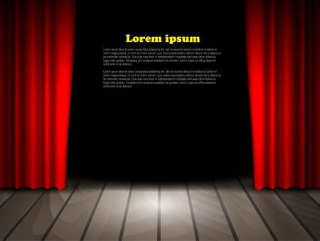 Theater stage with wooden floor and red curtains. Vector. Ilustracja